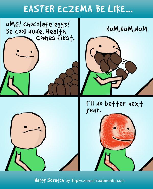 Happy Scratch Eczema Comic Easter